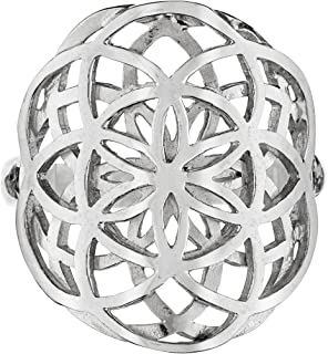 Dabble Seed of Life Ring Sterling Silver 925 Sacred Geometry Flower of Life Yoga Jewelry