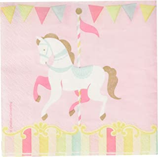 Creative Converting 329348 Carousel Beverage Napkins Party Supplies, 5x5, Multicolor