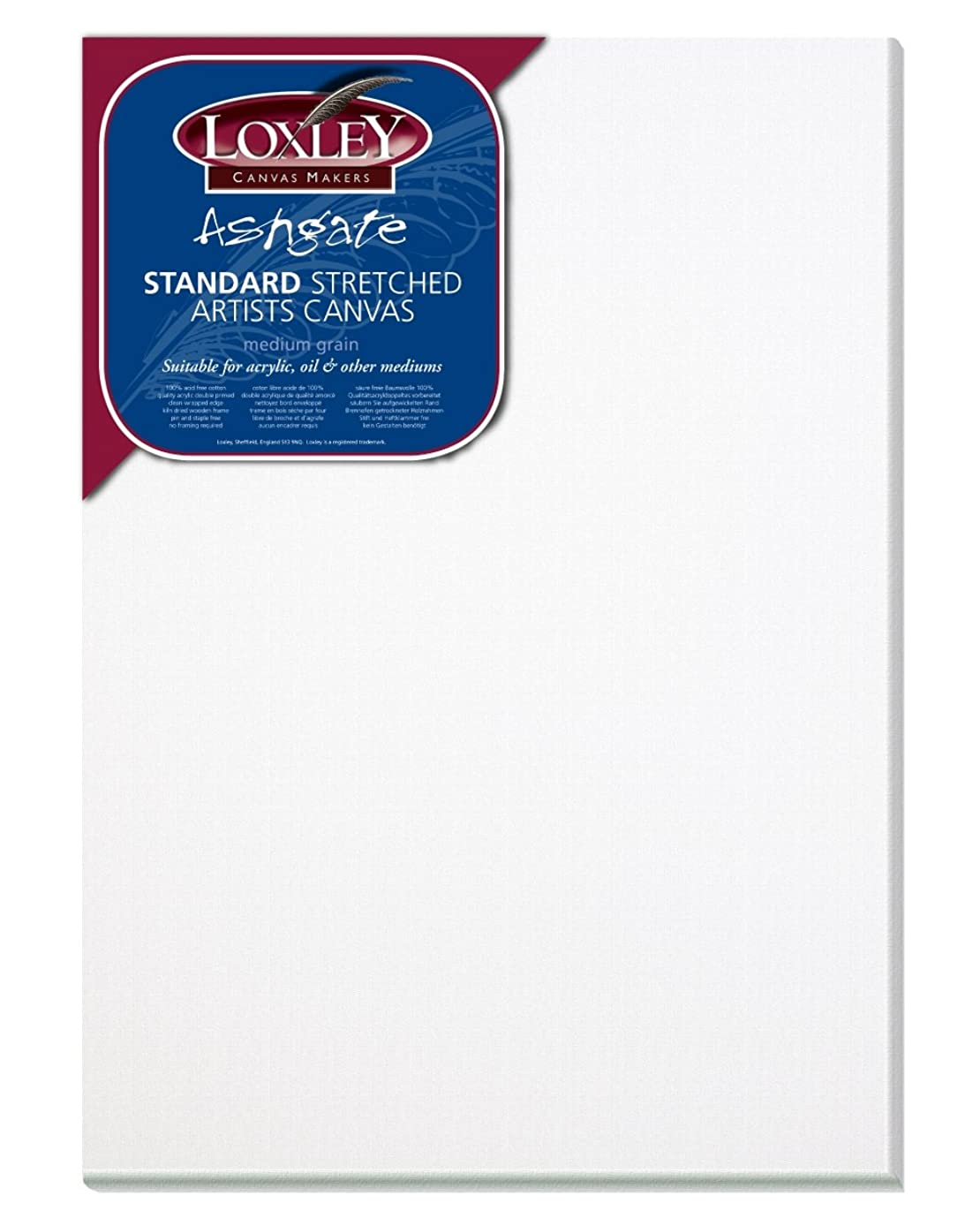 Loxley 14 x 10-inch Traditional 18 mm Depth Ashgate Stretched Artists Canvas, White by Loxley