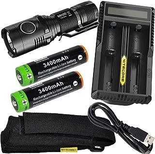 EdisonBright Nitecore MH20 CREE XM-L2 U2 LED 1000 Lumen USB Rechargeable Flashlight, 2 X EBR34 18650 3400mAh rechargeable Li-ion batteries, Nitecore UM20 USB charger bundle