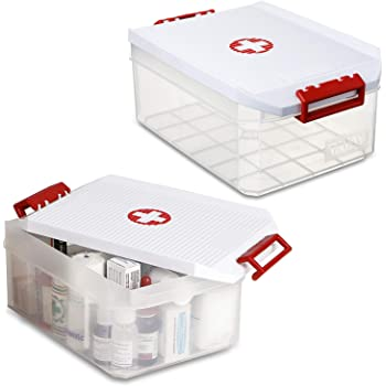 PracticDomus - Lote 2 Botiquines Tatay, Cajas Multiusos 4.5L. Tapa con Asas Integradas y Simbolo Cruz Roja (2X Cruz Roja): Amazon.es: Hogar