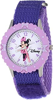Kids' W000026 Minnie Mouse Time Teacher Watch With Two-Tone Nylon Band