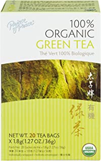 Prince of Peace Organic Green Tea, 20 Tea Bags – 100% Organic Green Tea – Unsweetened Green Tea – Lower Caffeine Alternati...