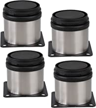 BQLZR Meubelmetaal verstelbaar roestvrij staal poten rond zwart en zilver 50 x 50mm 4-pack