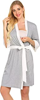 Ekouaer Maternity Nursing Robe,Delivery NightgownsHospital Breastfeeding Gown
