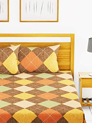 Austin 110Gsm Micro-Peached Double Bedsheet with 2 Pillow Cover - Deep Colors & Soft-Finish Fabric -3pc Set- (envogue) Check-Brown/Multi