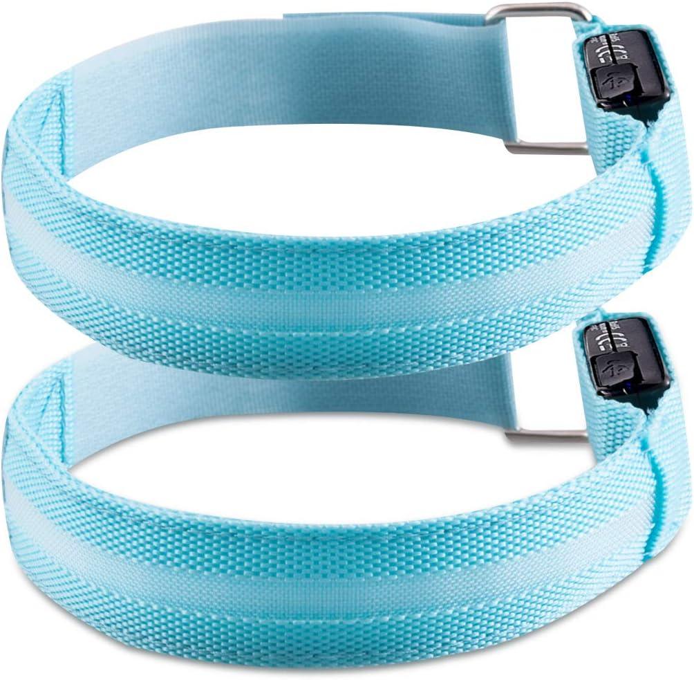 kwmobile 2X Bracelet Lumineux LED Brassard de Sport V/élo Footing avec Lumi/ère R/églable Bracelet de S/écurit/é Haute Visibilit/é Rechargeable