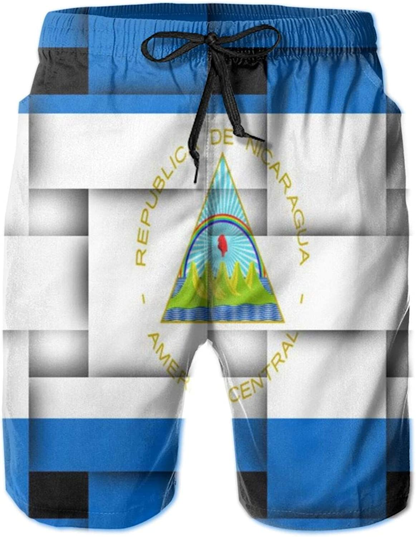 Yt92Pl@00 Men's 100% Polyester Ranking TOP8 Cheap mail order shopping Nicaragua Swim Weave Pattern Flag