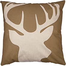Arundeal Reindeer 18 x 18 Double-Sided Decorative Square Cotton Linen Throw Pillow Cover
