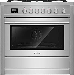 "Empava 36"" Slide-In Single Oven Gas Range with 5 Sealed Burner Cooktop in Stainless.."