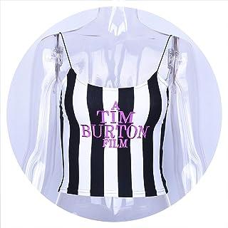 Dulzura Letter Embroidery Women Sexy Crop top Summer Sleeveless Skinny Camis Stripe Camisoles Tim Burton