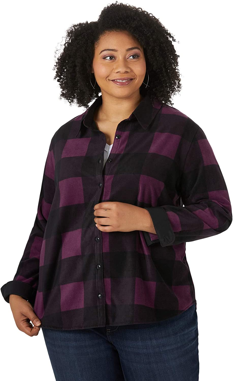 Riders by Lee Indigo Women's Plus Size Long Sleeve Button Front Pattern Fleece Shirt