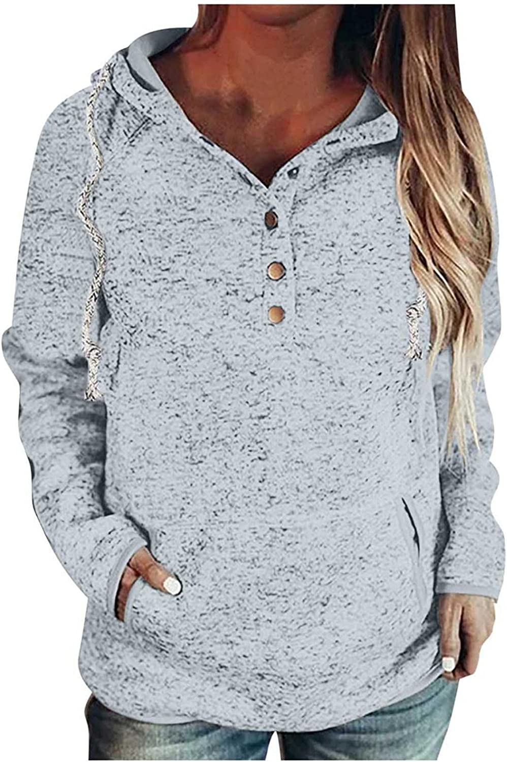 UOCUFY Hoodies for Women, Womens Pullover Button Down Drawstring Hoodies with Pockets Casual Long Sleeve Sweatshirts
