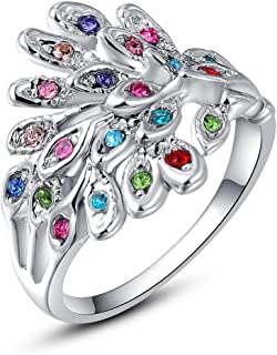 Shinningstar Girls' Women's Fashion Rose Gold Platinum Plated Zircon Peacock Band Stylish Ring