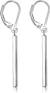 Milacolato 925 Sterling Silver Vertical Bar Dangle Earrings for Women Leverback Drop Earrings Elegant