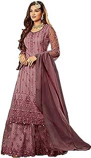 Ethnicset Women's Net & Santoon Semi-stitched Salwar Suit (sarara-suit-E_Purple_Free Size)