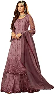 Ethnicset Women's Net with Santoon Sharara Salwar Suit (FN 22216; Purple; Free Size)