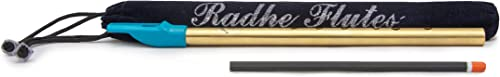Radhe Flutes Brass Flute Soprano Vertical Blow Scale D Natural With VELVET COVER