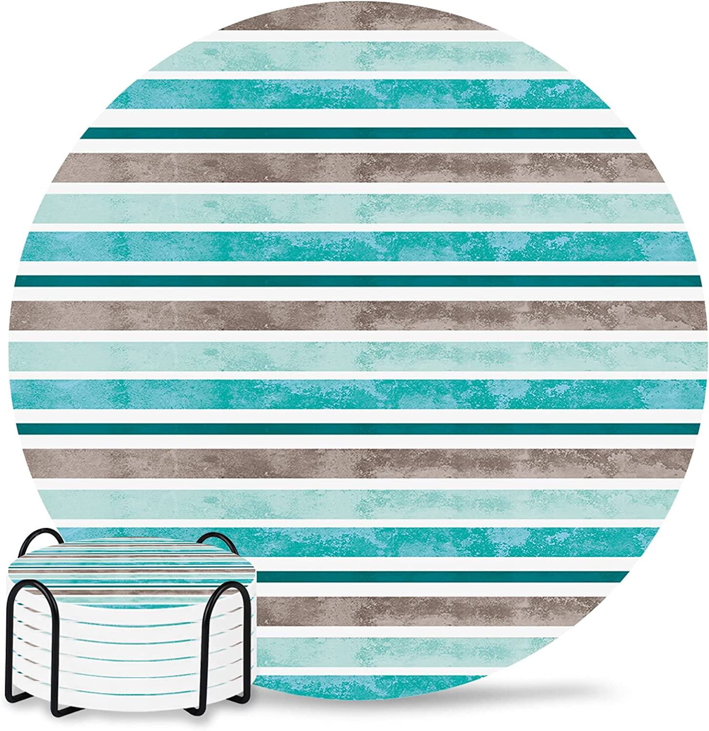 Coasters for Drinks Set Houston Mall of Excellent 6 Stripe Holder with Turquo Colorful