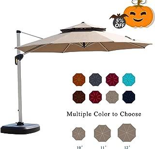 PURPLE LEAF 11 Feet Double Top Round Deluxe Patio Umbrella Offset Hanging Umbrella Outdoor Market Umbrella Garden Umbrella, Beige