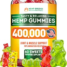 Premium Hemp Gummies 400,000 - Safe and Natural - Made in USA - Maximum Value in Each Gummy - Stress & Anxiety Relief - Special Vitamins B, E, Omega 3, 6, 9 Blend