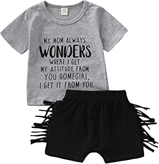 YOUNGER TREE Newborn Infant Baby Boys Clothes Set Summer Letter Printed Shirt Tassel Pants Set