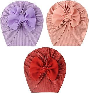 WYTong 3Pcs Baby Girls' Hats Caps Newborn Baby Fashion Solid Hat Flowers Hat Winter Warm Hood Tire Cap