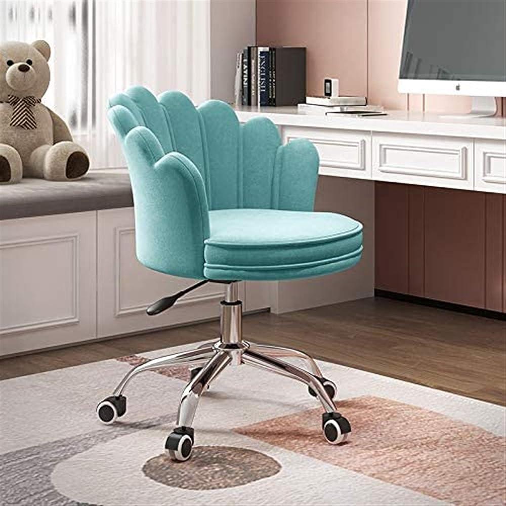 Bhht sedia da ufficio moderna regolabile in velluto panne,sedia imbottita 9741