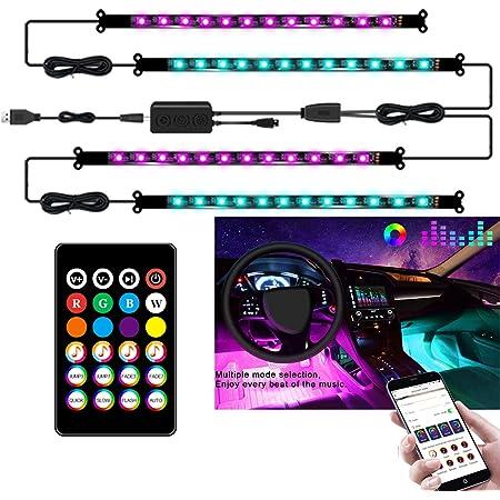 Auting Luci LED per interni auto, 4 pezzi 48 LED multicolore RGB Strips impermeabile, App controllabile con sincronizzazione musicale, porta USB e telecomando, DC 12