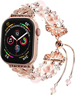 Fohuas Compatible for Apple Watch Bracelet 42mm 44mm, Adjustable Crystal Pearl iWatch Band Women Jewelry Elastic Replacement Wristband for iWatch Series 5 4 3 2 1 Sport, Edition, Nike+, Rose Gold