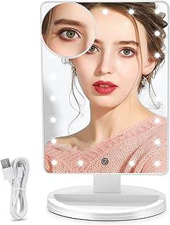آینه آرایش روشن FUNTOUCH با 21 چراغ LED ، آینه غرور آرایشی با کم نور بودن صفحه لمسی ، آینه لوازم آرایشی قابل شارژ قابل جدا شدن 10 برابر آینه آرایشی USB یا منبع تغذیه دوگانه باتری (سفید)