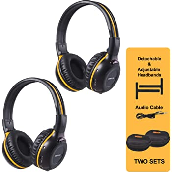 Amazon Com Simolio 2 Pack Of Ir Wireless Headphones For In Car Tv Dvd Video Listening 2 Channel Car Headphones With Eva Cases Aux Cord On Ear Wireless Cars Headphones Not Work On 2017 Gm S