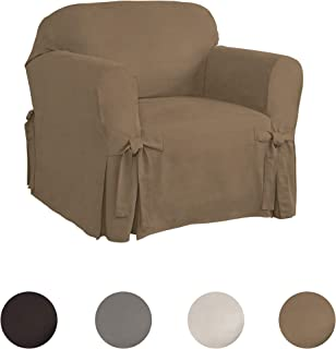 Serta | Relaxed Fit Smooth Suede Furniture Slipcover for Chair (Taupe)