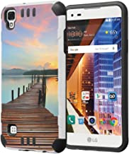 LG Tribute HD Case, LG X Style Case, Capsule-Case Hybrid Dual Layer Silm Defender Armor Combat Case (White & Black) Brush Texture Finishing for LG TributeHD / X Style - (Walking Path)