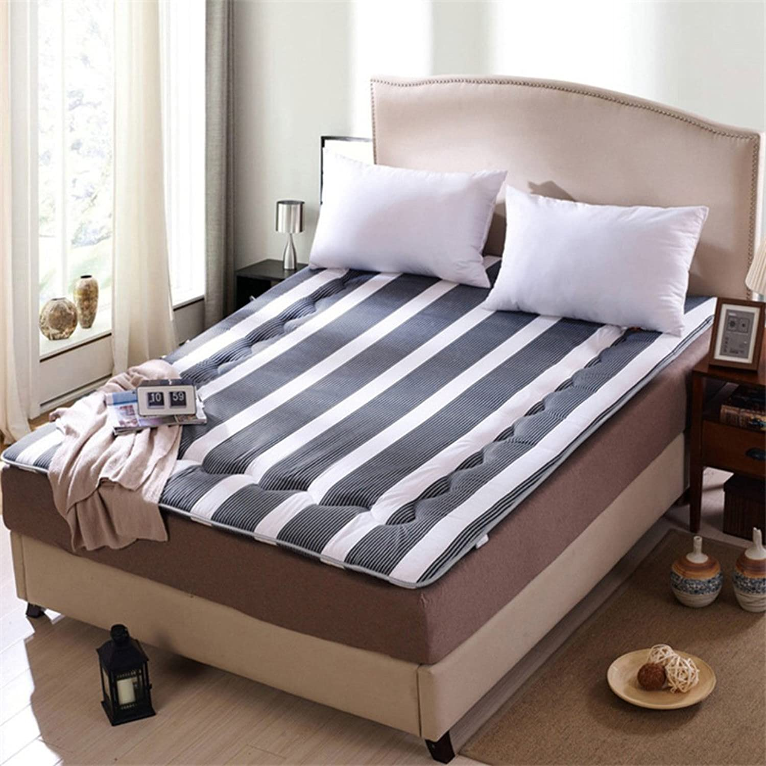 Thicken Stripe Mattress,Double Breathable Soft Student Sleeping pad Mattress Collapsible Tatami Sleeping pad -B 100x200cm(39x79inch)