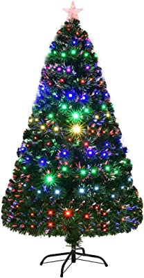 49442bd7c9f94 Goplus 6FT Artificial Christmas Tree Pre-Lit Optical Fiber Tree 8 Flash  Modes W