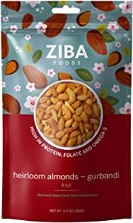 Ziba Foods Heirloom Gurbandi Raw Almonds   Non-GMO, Vegan, Whole 30 Friendly, Keto & Paleo   Heirloom Superfood Naturally ...