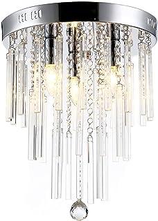 LIGHTESS Lustre en Cristal Moderne Design Finition Chromée Eclairage de plafond Pendentif Plafonnier Luminaire Intérieur C...