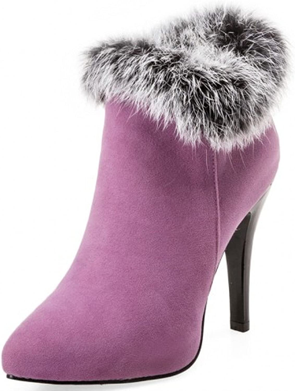 Rongzhi Womens Ankle Boots Pointed Toe Stilettos Rabbit Fur Suede Pumps Heels Booties