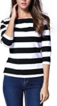 FENSACE Womens Crew Neck 3/4 Sleeve Cotton Striped T-Shirt Casual Tops