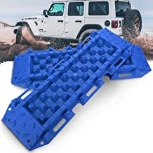 BUNKER INDUST Recovery Traction Boards Tracks Traction Mat for Off-Road 4X4 Mud, Sand, & Snow-2 Pcs Blue Track Tire Ladder