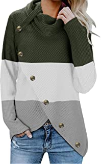 ETCYY NEW Womens Pullover Colorblock Sweater with Buttons Cowl Neck Asymmetric Hem Knit Wrap Causal Sweater