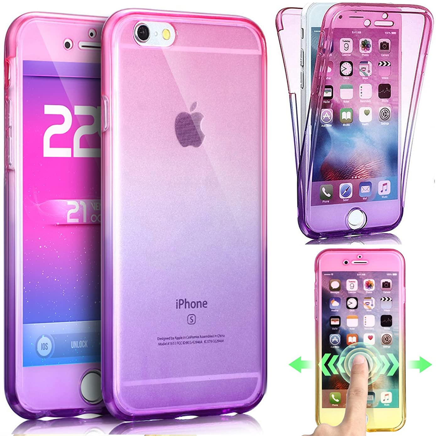 iPhone 8 Case,iPhone 7 Case,ikasus [Full-Body 360 Coverage] Gradient Color Ultra-Slim Scratch-Resistant Front Back Full Coverage Soft Clear TPU Silicone Rubber Case Cover for iPhone 8/7,Pink Purple