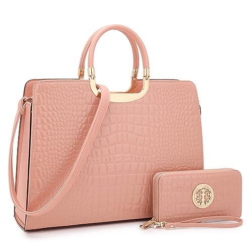 Designer Croco Leather Briefcase Computer Laptop Bag for Women, Womens Handbags Top Handle Satchel Purse