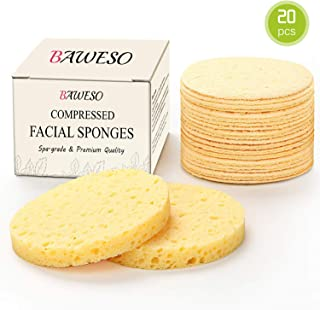 Facial Sponges - BAWESO All Natural Compressed Cellulose Face Scrub Buff Puff, Reusable Organic Odorless Deep Cleansing and Soft Exfoliating Spa Massage Pads, Bigger / Thicker 20 Counts (3