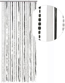 Hab & Gut -DV0281- Cortina para Puertas Tejido/Lentejuelas, Negro/Blanco