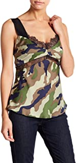 Kendall & Kylie Camo Print Tank Top Camisol for Women in Cami Green, Small