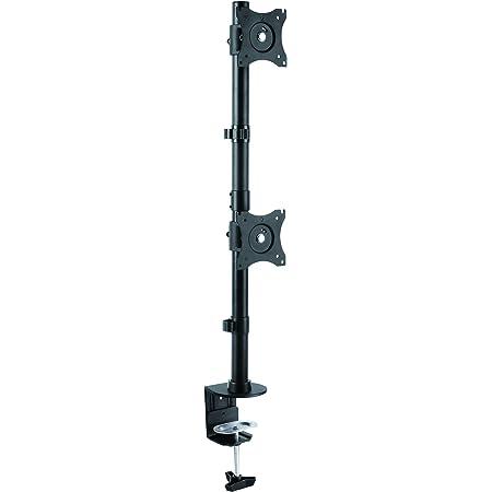 "StarTech.com Vertical Desk Mount Dual Monitor Arm - for Monitors 13"" to 27"" - Adjustable - Desk Clamp/Grommet-Hole Mount - Dual VESA Monitors - Black (ARMDUALV)"