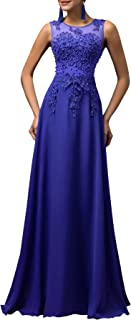 GRACE KARIN Damen Bodenlang Abendkleid Chiffon Standesamtkleid Spitze Ärmelloskleid CL7555
