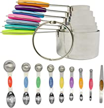 Measuring Cup Set with Magnetic Measuring Spoons by Bakeess – 8 Pieces Stackable Stainless Steel Measuring Cups for Liquid...